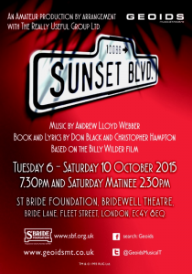 Sunset Boulevard: Tuesday 6 - Saturday 10 October 2015, Bridewell Theatre